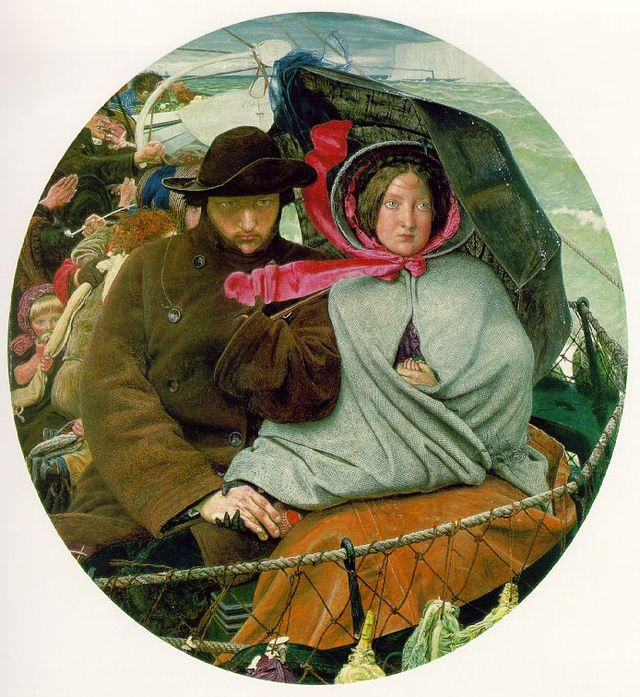 Emma Madox Brown can be seen in her husband's painting 'The Last of England' (1855)