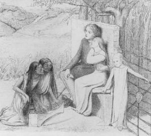 Lovers Listening to Music, drawn by Elizabeth Siddal in 1854