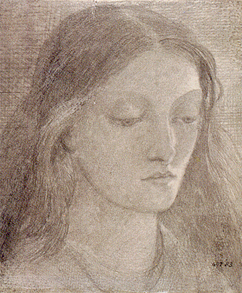 Drawing of Lizzie, by Rossetti