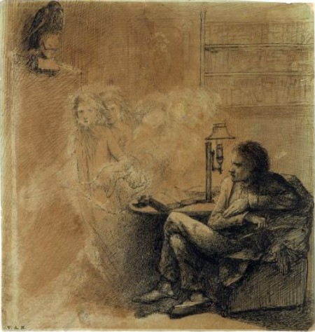 The Raven, drawn by Dante Gabriel Rossetti