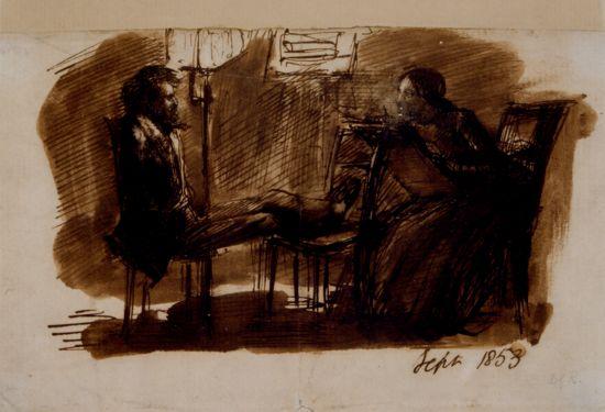 Dante Gabriel Rossetti sitting to Elizabeth Siddal.
