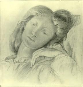 Elizabeth Siddal drawn by Dante Gabriel Rossetti
