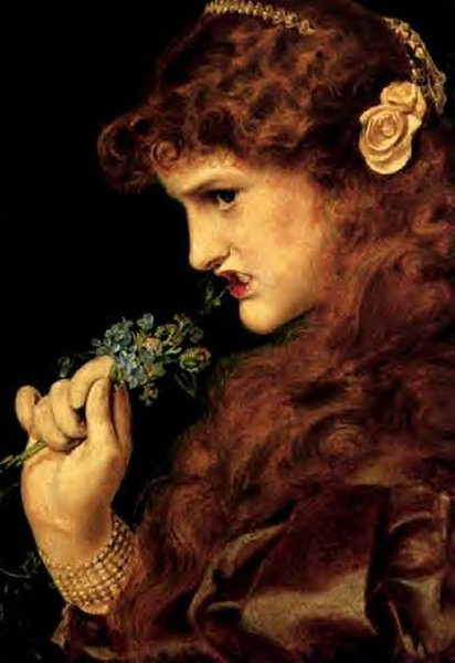 Miss Clive in 'Love's Shadow', also known as 'Proud Maisie' by Frederick Sandys.