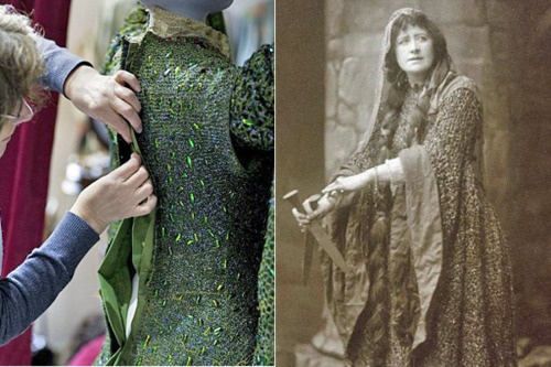 Right: The gown during restoration. Left:  Ellen Terry as Lady Macbeth.