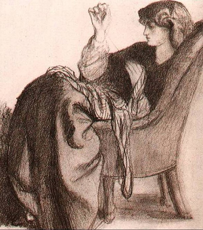 Drawing of Jane Burden Morris by Dante Gabriel Rossetti