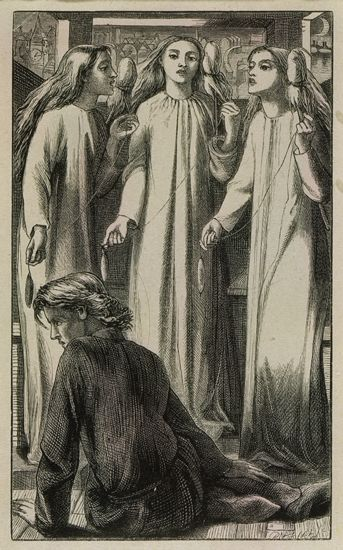 Dante Gabriel Rossetti's illustration for The Maids of Elfin-Mere, a supernatural ballad by William Allingham.