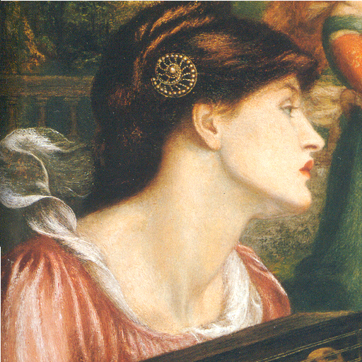 Scarf seen in this detail from 'The Bower Meadow'. Also, note Rossetti's oft-used spiral hair pin.