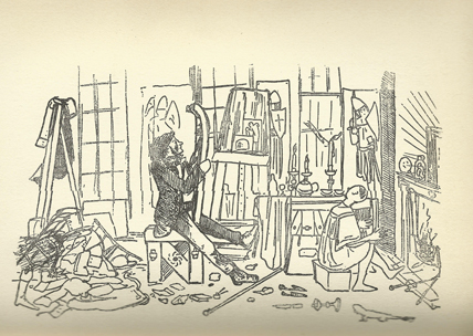 Burne-Jones' caricature of himself in the studio at Red Lion Square