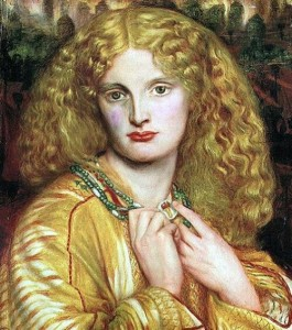 Annie Miller as Helen of Troy. Painted by Dante Gabriel Rossetti.