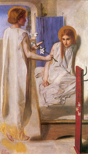 'Ecce Ancilla Domini', Dante Gabriel Rossetti. A Small dove can be seen in between Mary and the angel Gabriel. In this work, Christina Rossetti posed for Mary.