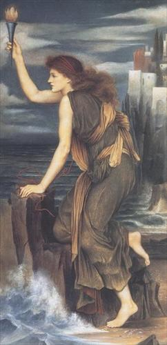 'Hero Holding the Beacon for Leander', Evelyn De Morgan