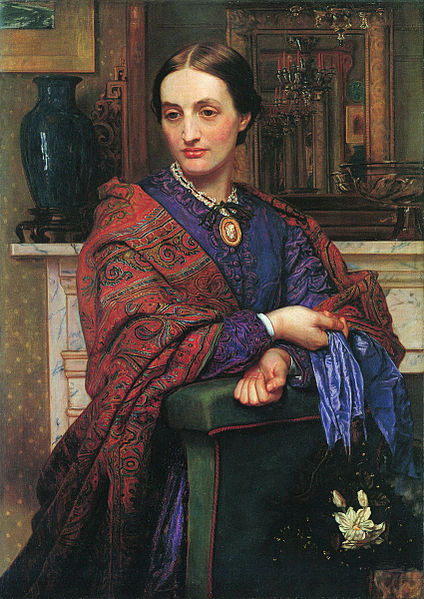 Portrait of Fanny Holman Hunt,  painted William Holman Hunt.  Fanny was Holman Hunt 's first wife.  After her death,  he married her sister,  Edith.  At that time,  it was illegal to marry your deceased wife's sister,  so the couple wed abroad.