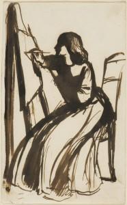 Elizabeth Siddal at easel, sketch by Dante Gabriel Rossetti