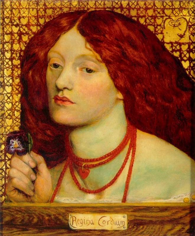 <a href='http://preraphaelitesisterhood.com/regina-cordium-queen-of-hearts/'>'Regina Cordium'</a> was begun by Rossetti while honeymooning with Elizabeth Siddal