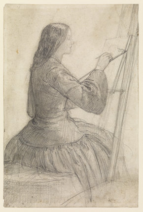 Elizabeth Siddal at easel, drawn by Dante Gabriel Rossetti