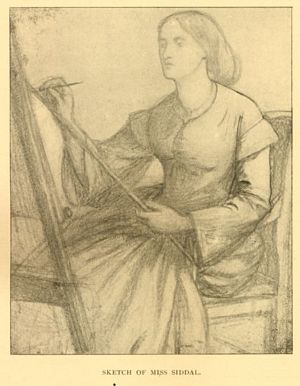 Sketch of Elizabeth Siddal at easel by Dante Gabriel Rossetti