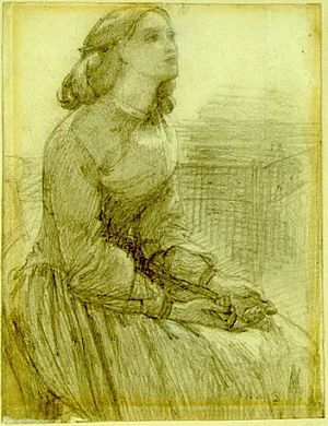 A study for 'Beata Beatrix', circa 1854. Elizabeth Siddal clearly posed for Beata Beatrix before her death, the project assumed a new meaning after her passing.
