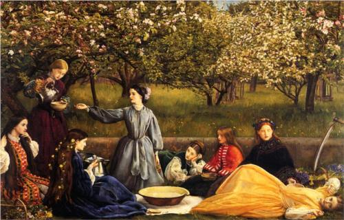 'Apple Blossoms', John Everett Millais. Read his wife Effie's description of the painting.