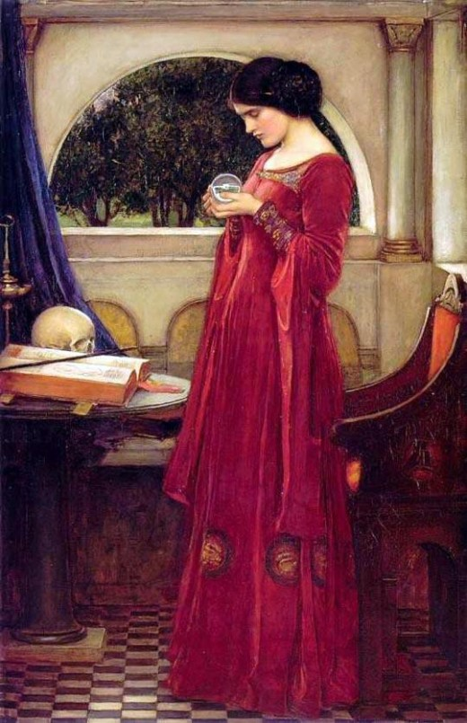 Princess Leia's iconic double bun hairstyle can be seen in 'The Crystal Ball' (John William Waterhouse, 1902)