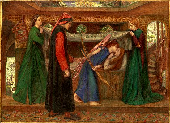 'Dante's Dream at the Time of the Death of Beatrice': Margaret Hannay appears as Beatrice on her deathbed.  Models Annie Miller and Miss Lazenby are Beatrice's attendants. Dante is clad in black and red, the figure of 'Love' kisses Beatrice.