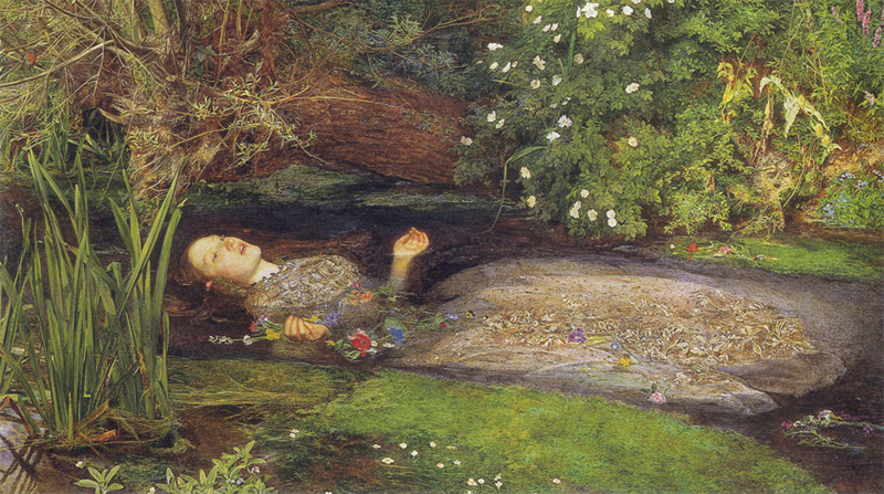 'Ophelia' (1852) by Sir John Everett Millais. Model: Elizabeth Siddal