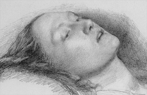 Study of Elizabeth Siddal for the head of Ophelia by Millais.