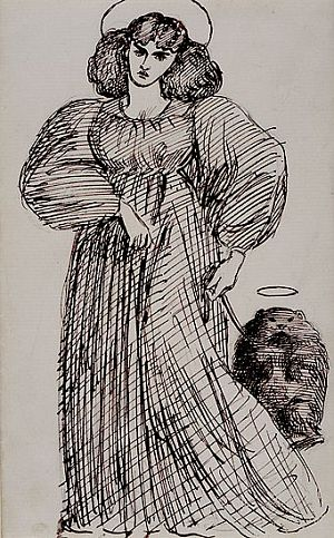 Jane Morris and wombat, drawn by Dante Gabriel Rossetti