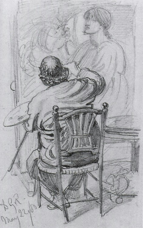 "'Rossetti working on ""The Day Dream"" ' by Frederic Shields"