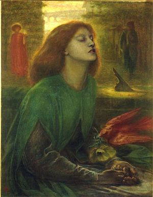 Elizabeth Siddal's features appear in 'Beata Beatrix', Dante Gabriel Rossetti's tribute to his wife after her death.
