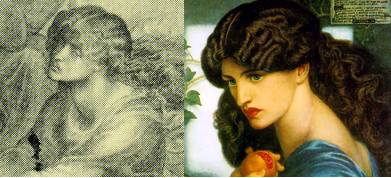 Jane Morris' features seen in Eurydice (l) and Proserpine (r)