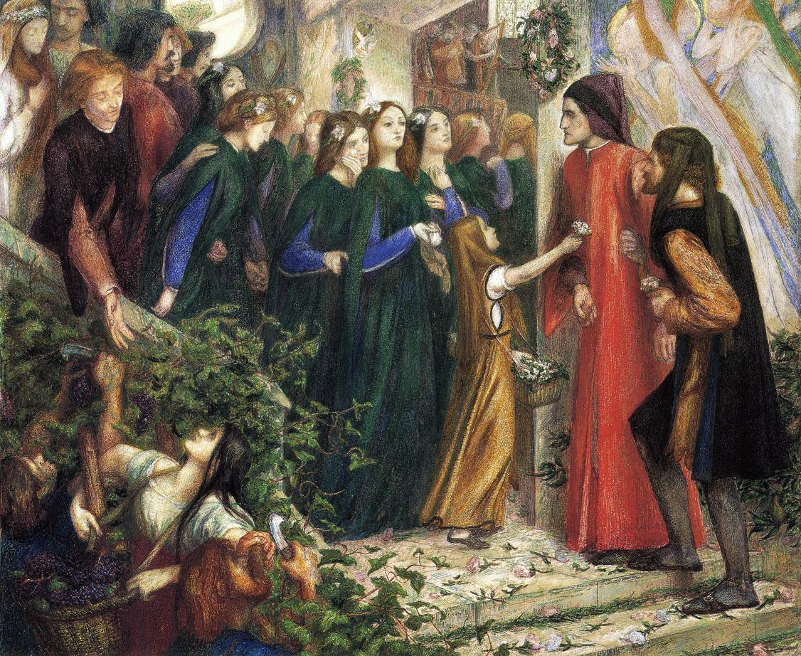 'Beatrice meeting Dante at a marriage feast, denies him her salutation', Dante Gabriel Rossetti, 1855