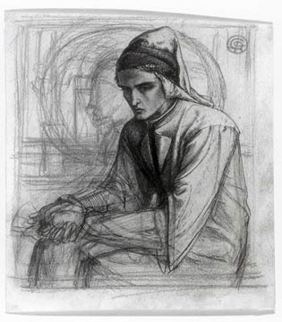 'Dante in meditation holding a pomegranate', Dante Gabriel Rossetti.  Like the myth of Proserpine in the underworld, the pomegranate represents Dante's visit to Hell