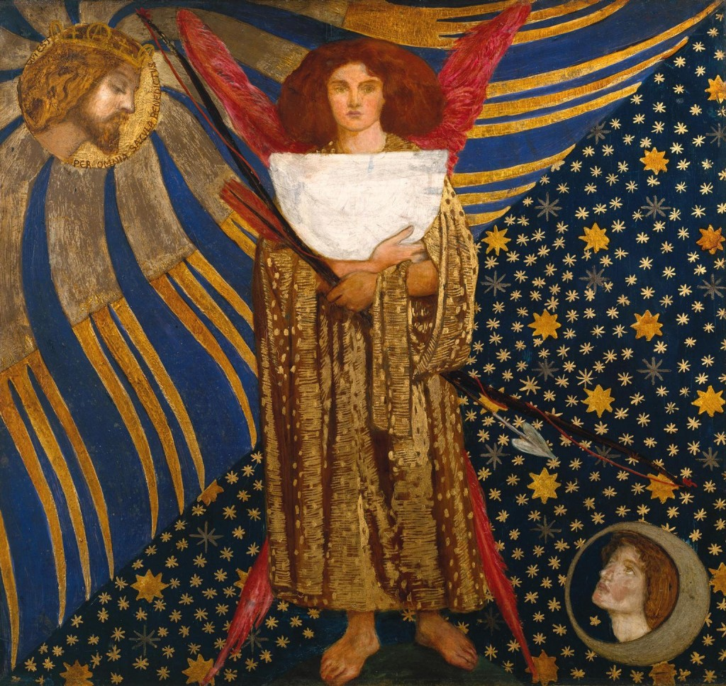 'Dantis Amor', Dante Gabriel Rossetti. Dantis Amor (Dante's Love) includes a quotation from the Vita Nuova: 'that blessed Beatrice who now gazeth continually on His countenance qui est per omia saecula benedictus' (Who is blessed throughout all ages).