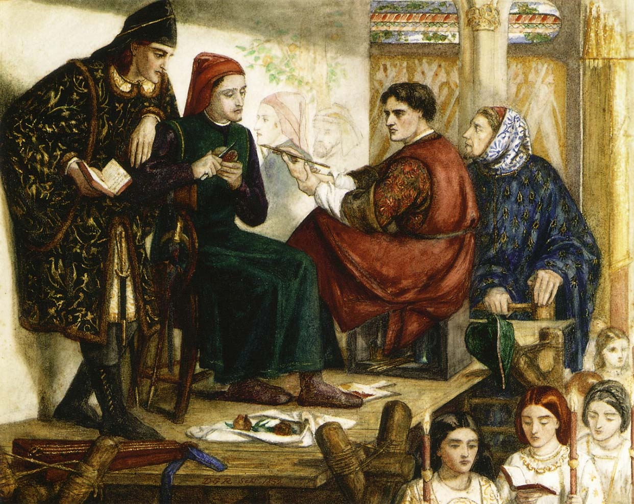 'Giotto painting the portrait of Dante', Dante Gabriel Rossetti