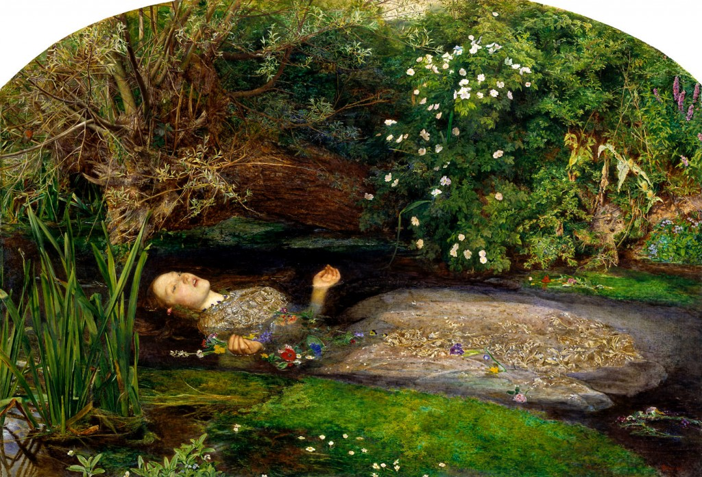 Elizabet Siddal as Ophelia, painted by John Everett Millais. See Ophelia's Flowers
