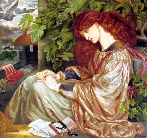 'La Pia de Tolomei', Dante Gabriel Rossetti. Pia shares her story in Canto V of Purgatorio in La Divina Commedia. Rossetti used Jane Morris as a model for Pia.