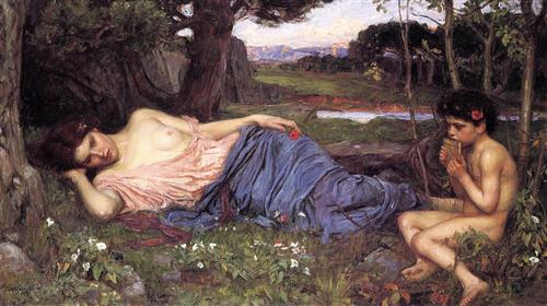 'Listening to My Sweet Pipings', John William Waterhouse