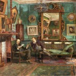 'D.G. Rossetti and Theodore Watts-Dunton in the sitting room at Cheyne Walk.  Watercolour by Henry Treffry Dunn