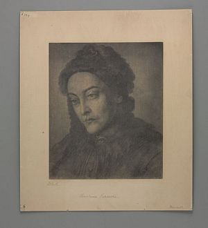 Portrait of Christina Rossetti by Dante Gabriel Rossetti. Via the Rossetti Archive.