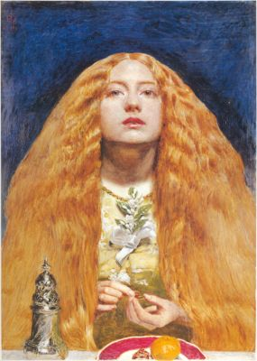 The same silver pillar appears in the foreground of Millais' 'The Bridesmaid'
