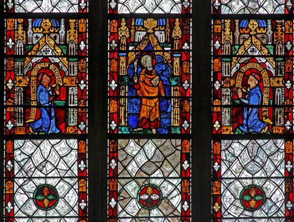 Detail of window in Merton College Chapel, via Medieval Stained Glass Photographic Archive