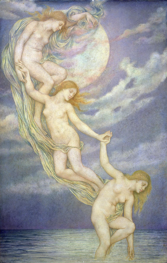 'Moonbeams Dipping into the Sea', Evelyn de Morgan
