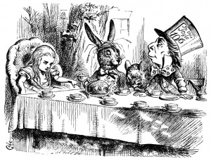 The dormouse, seated between the Mad Hatter and the March hare.