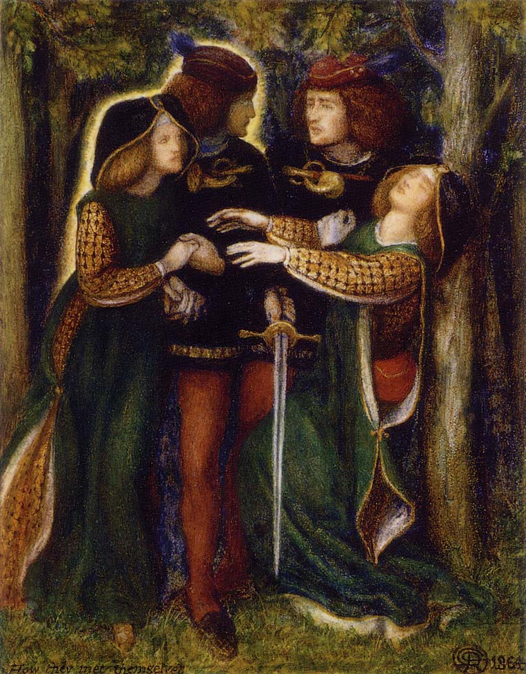 'How They Met Themselves', Dante Gabriel Rossetti. Known as his 'bogey' drawing, this illustration of doppelgangers was begun by DGR while on his honeymoon with Lizzie.
