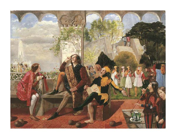 Twelfth Night, Walter Howell Deverell. Lizzie on the left. Dante Gabriel Rossetti posed as the jester on the right.