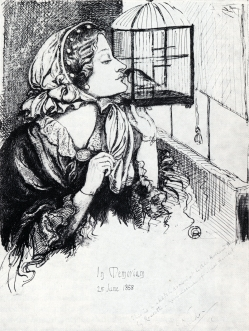 'Beauty and the Bird', sketch of Ruth Herbert by Dante Gabriel Rossetti. Via rossettiarchive.org