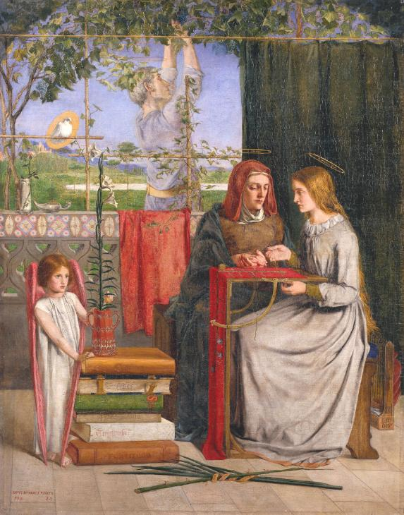'The Girlhood of Mary Virgin', Dante Gabriel Rossetti. The dove sits on a lattice. Rossetti's sister Christina posed for Mary; their mother Frances posed for Mary's mother.