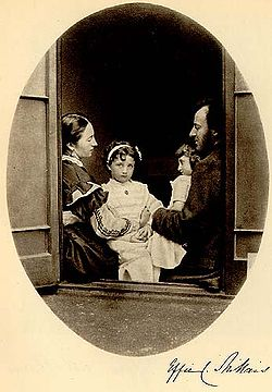 The Millais family photographed by Lewis Carroll from 21 July 1865 depicting Effie Gray, John Everett Millais, and their daughters Effie and Mary. More children were to come, however. John and Effie had eight babies in quick succession.