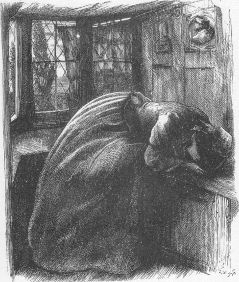 Illustration of Mariana for Moxon's Tennyson by Millais