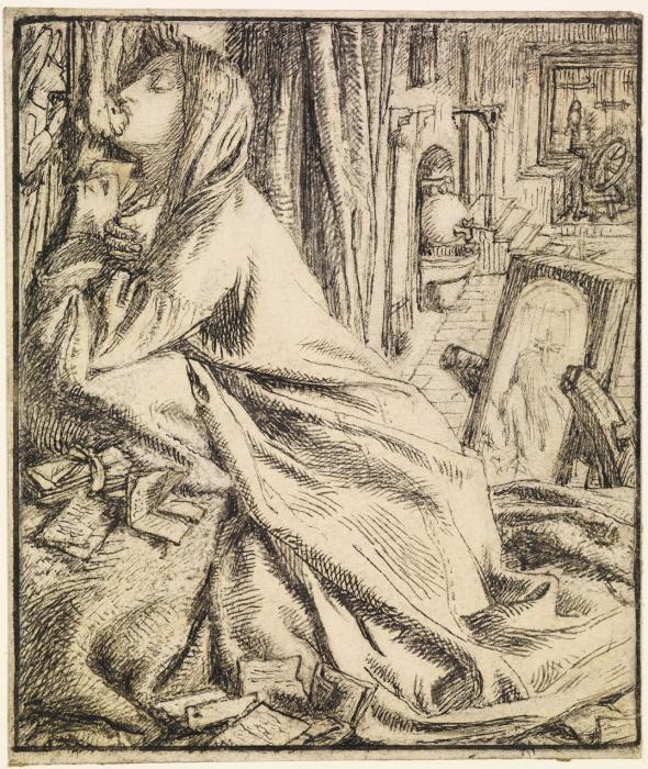 'Mariana in the Moated Grange' drawn by Dante Gabriel Rossetti for Moxon's Tennyson